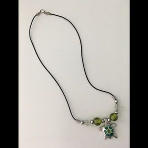 Jewelry - JEWELRY - silver & green turtle necklace